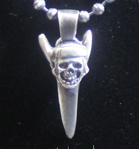"""Pirate Skull Mako Shark Tooth"" in STERLING SILVER- UDINC0111"