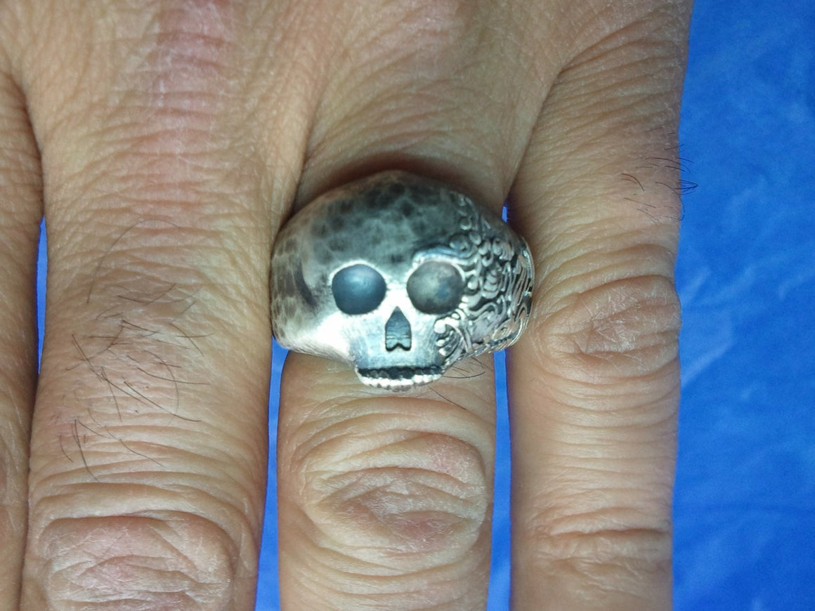"""Hammered Fiji Skull Ring"" -UDINC0023"