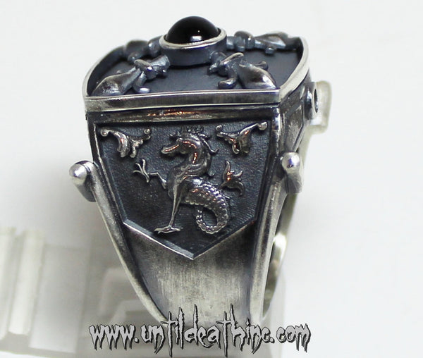 Sea Dragon Medieval King Ring In Sterling Silver
