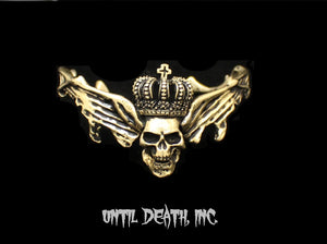 Until Death, Inc. Gothic Custom Flying  Winged Skull Cuff Bracelet.