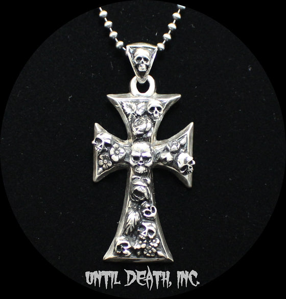Gothic Cross with Skulls & Roses