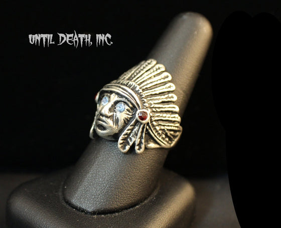 """Jeweled Indian Chief "" In Sterling Silver Ring-UDINC0035"