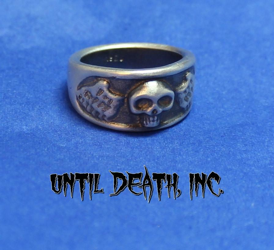 """Winged Skull Ring"". 925 Sterling Silver Ring -UDINC0046"