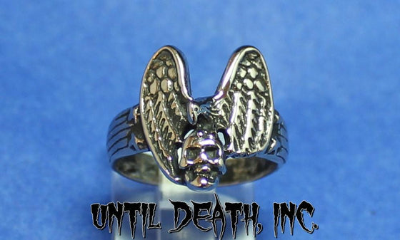 """Ladies Eagle,Stars, & Skull""  Sterling Silver Ring-UDINC0069"