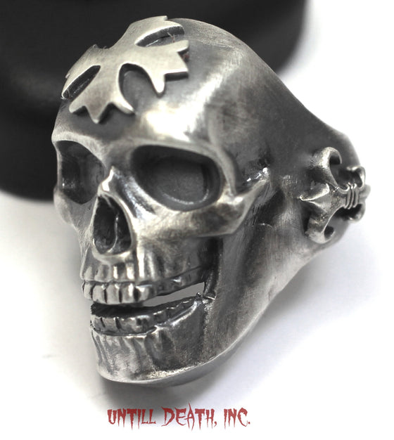 "Maltese Cross &Fleur de Lis ""Big Daddy"" Biker Skull Ring. 925 Sterling Silver-UDINC0005"
