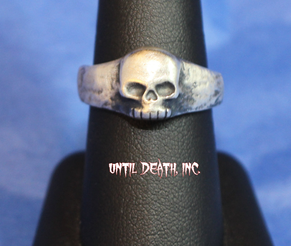 Momento Mori Small Crusty Skull Pirate Ring in Sterling Silver Ring-UDINC0013