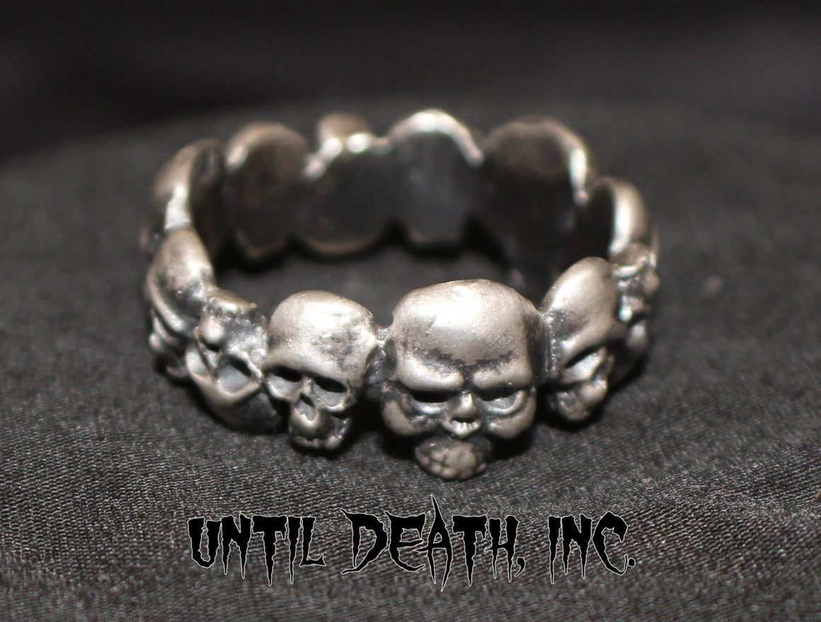 Men's Eternity Skull Band Ring in STERLING SILVER-UDINC0059
