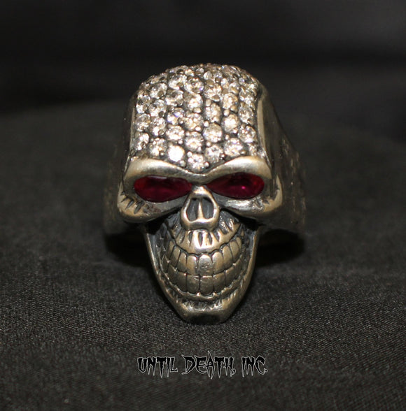 Custom Diamond Pave' Smiling Skull Ring With Ruby Eyes in STERLING SILVER- UDINC0073