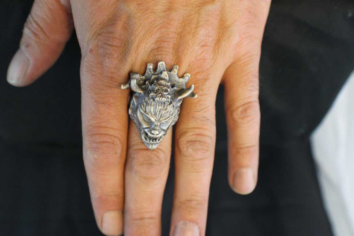 "Until Death, Inc. ""Jersey Devil"" Huge .925 Sterling Silver Biker Skull Ring.-UDINC0075"