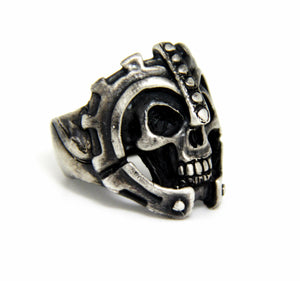 "Until Death, Inc. ""Warrior Skull Ring"" Huge .925 Sterling Silver Biker Skull Ring.-UDINC0081"