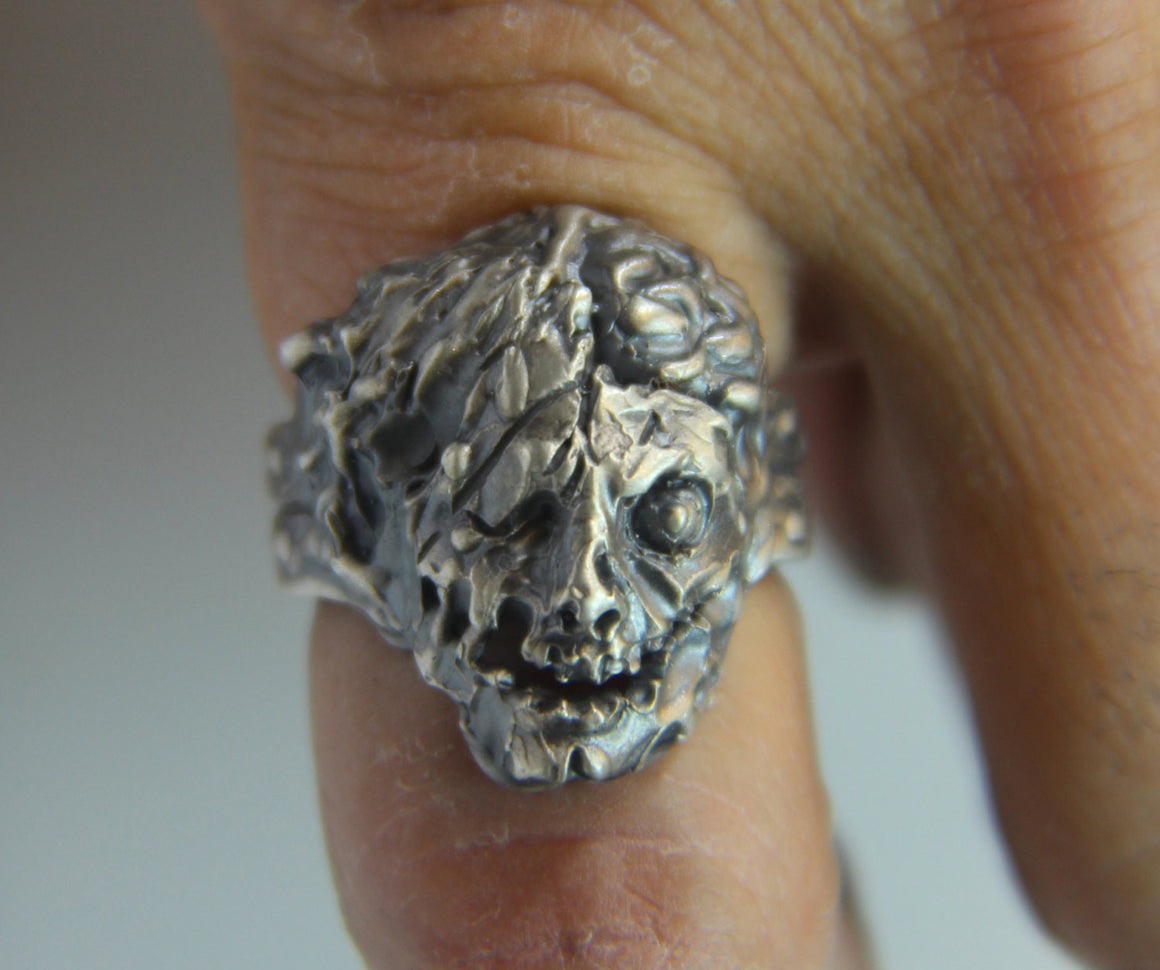 "Until Death, Inc. ""Zombie Ring"" Huge .925 Sterling Silver Biker Skull Ring.-UDINC0092"