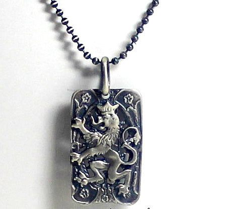 Rampant Lion Vintage Dog Tag in STERLING SILVER