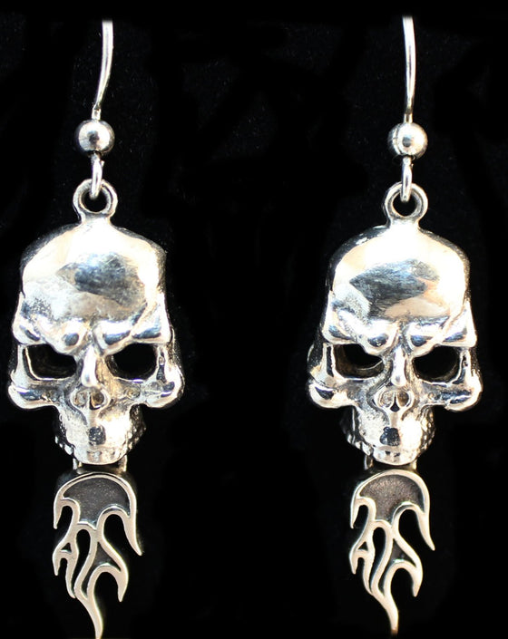 """Skull With Flames"" in STERLING SILVER"