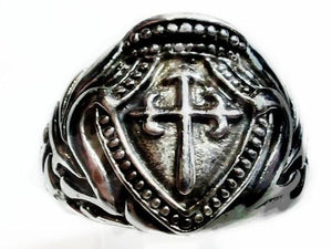 Beaded Cross Ring in Sterling Silver Ring-UDINC0012
