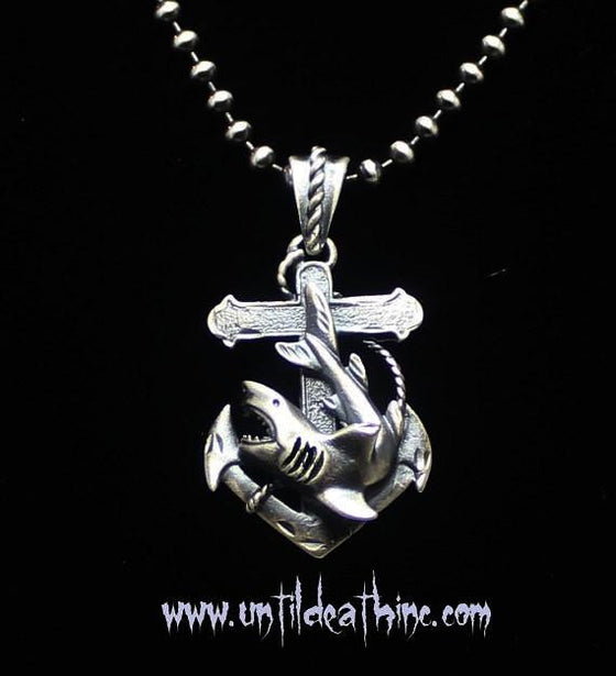 """Jaws Great White Shark and Anchor"" in STERLING SILVER"