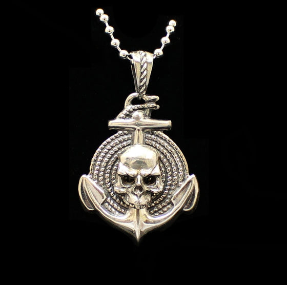 """Anchor, Skull  & Rope"" Sterling Solid .925 Silver -UDINC0108"