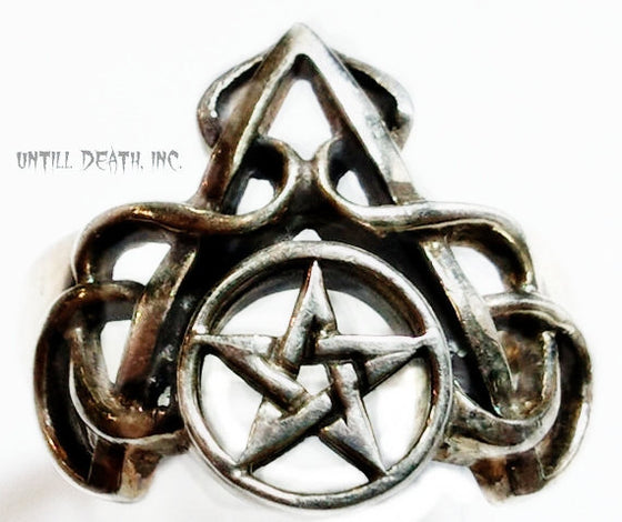 """Pentacle/Pentagram Ring With Scrolls"" .925 Solid Sterling Silver-UDINC0038"
