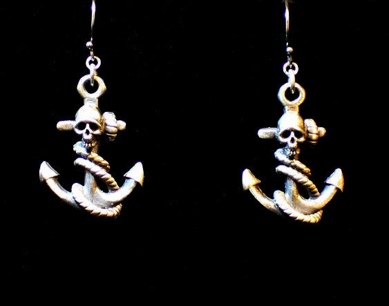 "Until Death, Inc. "" Anchor & Skull "" Solid .925 Sterling silver.Dangle Earring Pair"