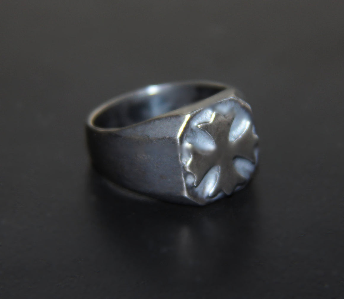 Until Death, Inc. Maltese Cross Signet Ring Gun Metal Finish. Solid 925 Sterling Silver.-UDINC0028