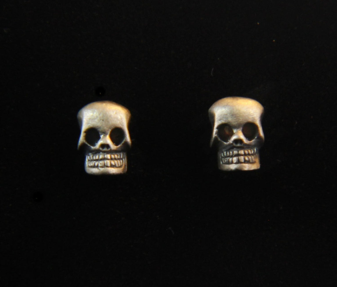 """Petite Day Of The Dead"" Stud Earring Pair in STERLING SILVER"