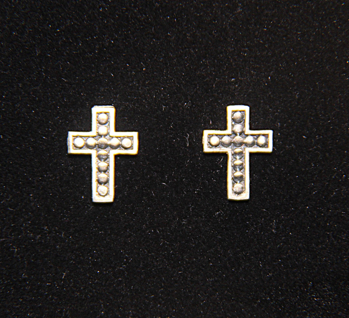 """Petite Studded Crosses"" Stud Earring Pair in STERLING SILVER"