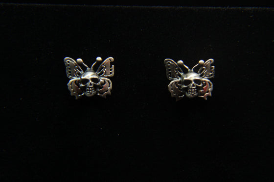 """Butterfly Skulls"" Studd Earring in STERLING SILVER"