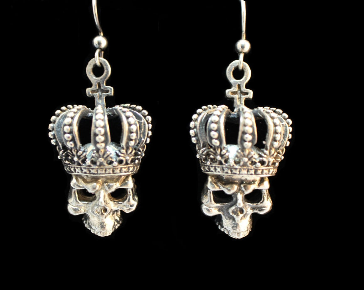 """Royal Crown, Cross & Skull"" in STERLING SILVER"