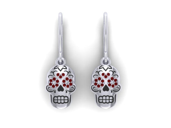 Sugar Heart Skulls Drop Earrings