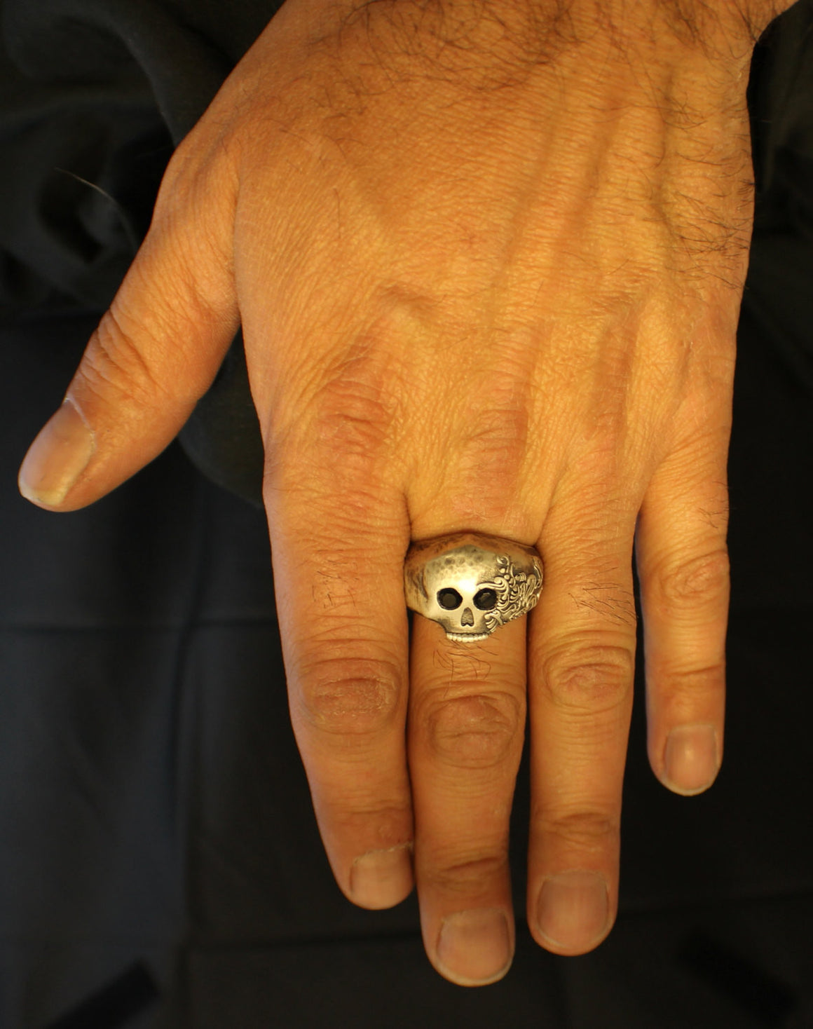 """Hammered Fiji Skull Ring with Onyx Eyes"" in Sterling Silver-UDINC0023a"