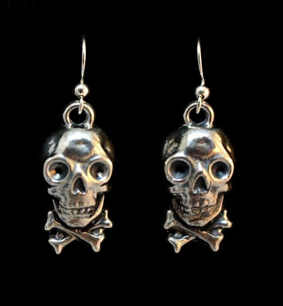 """Steampunk Cracker Jack Skull"" Dangle Earring Pair in STERLING SILVER- UDINC0132"
