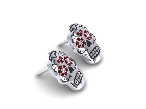 Sugar Heart Skulls Stud Earrings