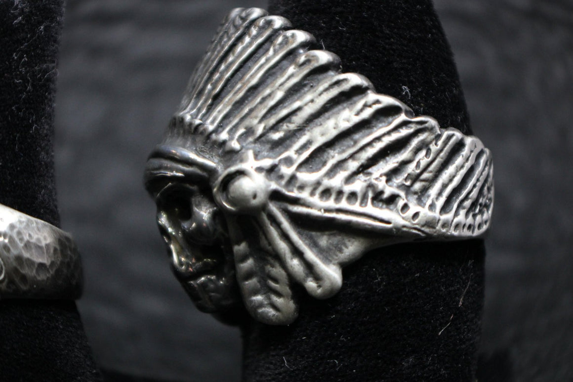 """Indian Chief"" Skull 925 Sterling Silver-UDINC0035"