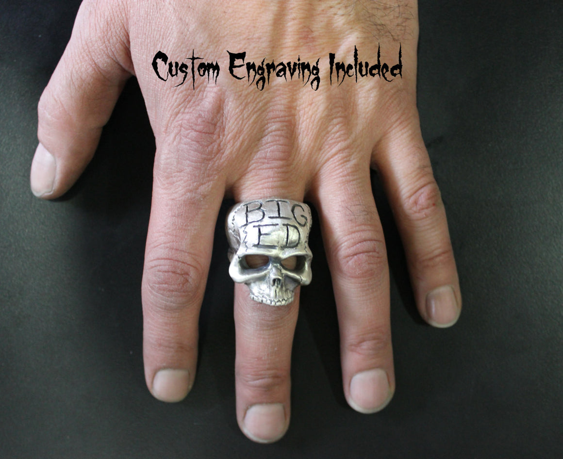 "Until Death, Inc. ""Big Boss Ring"" Huge .925 Sterling Silver Biker Skull Ring."