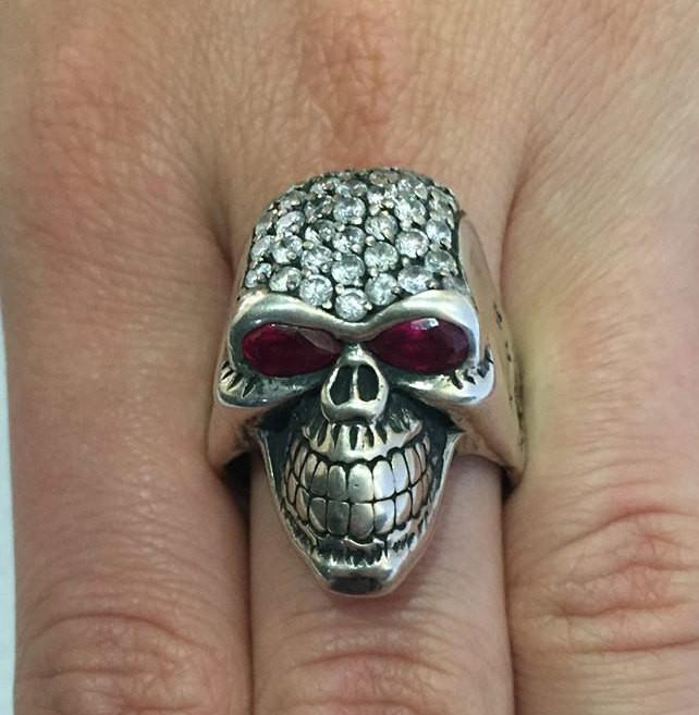 Donny Darko Skull Ring With Ruby Eyes-UDINC0073