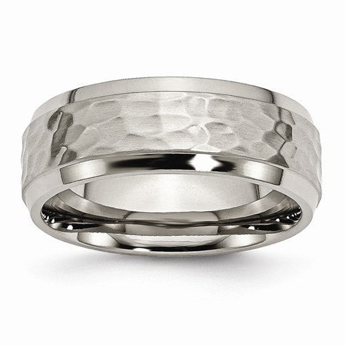 Men's Wedding Band-Titanium 8mm Beveled Edge, Hammered and Polished Band-UDINC0370