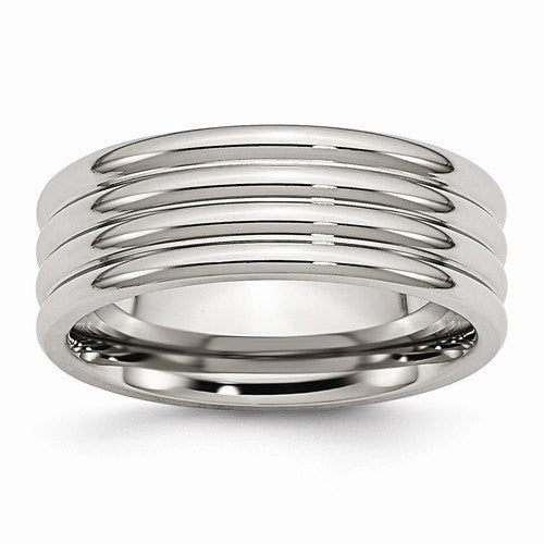 Men's Wedding Band-Stainless Steel Grooved 8mm Polished Band-UDINC0372