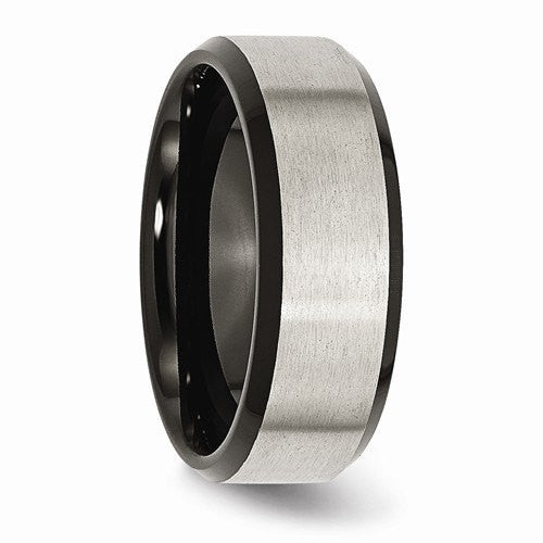 Men's Wedding Band-Titanium Beveled Edge Black plated 8mm Brushed Center Band.-UDINC0361-