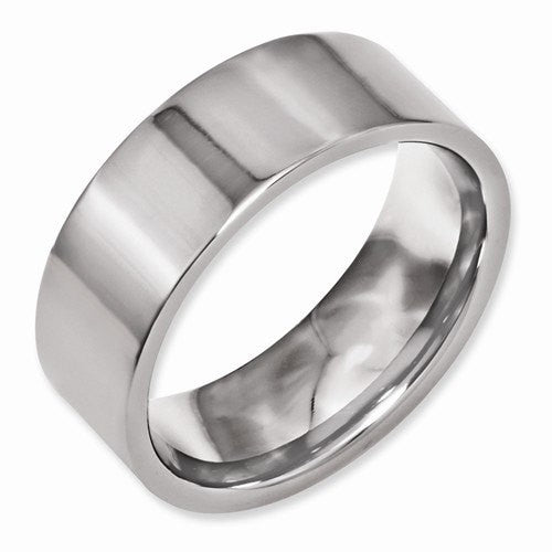 Men's Wedding Band-Titanium Flat 8mm Polished Band-UDINC0385