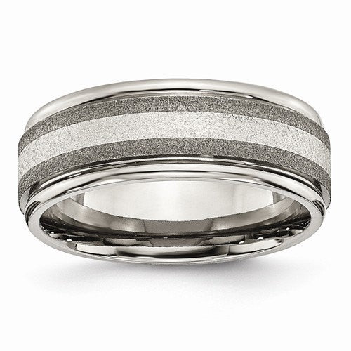 Men's Wedding Band-Titanium Polished /Stone Finish Center Grooved Edge Sterling Inlay Band-UDINC0394