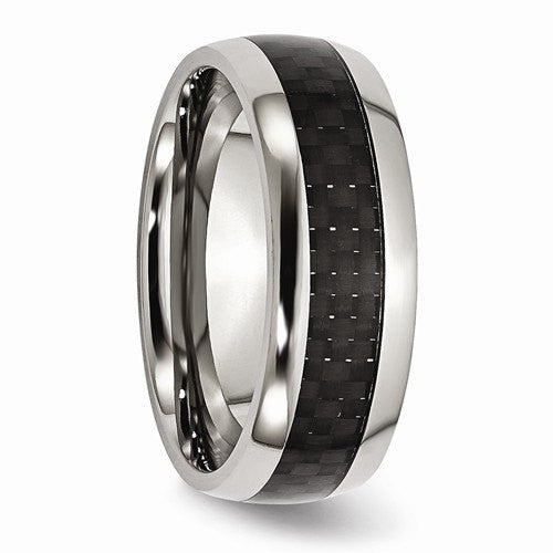 Stainless Steel Mens Wedding Band Ring 8mm: Men's Wedding Band-Stainless Steel And Black Carbon Fiber