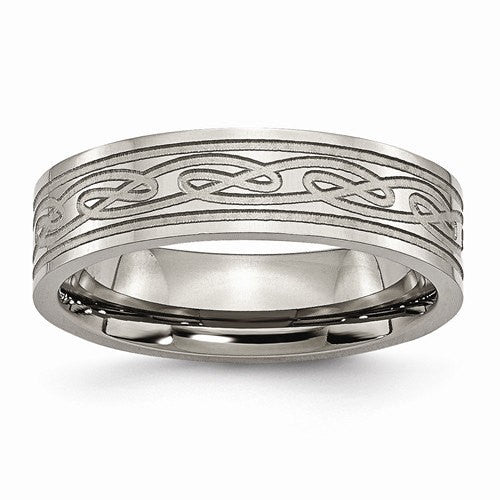 Men's Wedding Band-Titanium Flat Laser Etched Celtic Knot 6mm Polished Band-UDINC0378