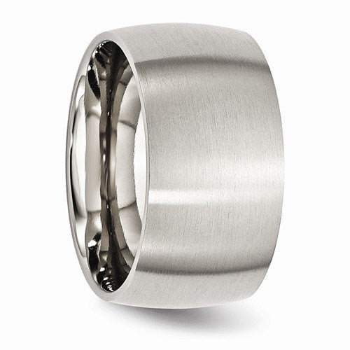Men's Wedding Band-Stainless Steel 12mm Brushed Band-UDINC0392
