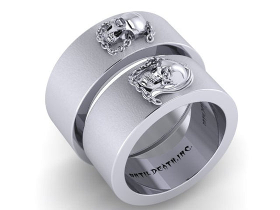 Until Death Inc Mens Skull Wedding Bands Titanium Bands
