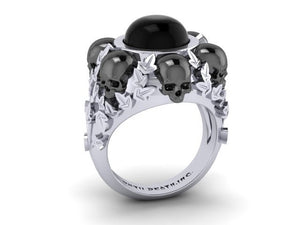 "Until Death, Inc. ""Ivy with Black"" Skull Ring- UDINC0309"