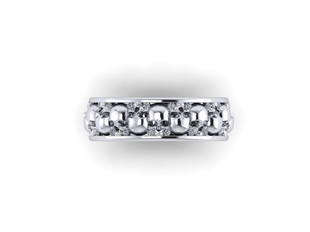 Diamond Alternating Skull Eternity Band-UDINC0329