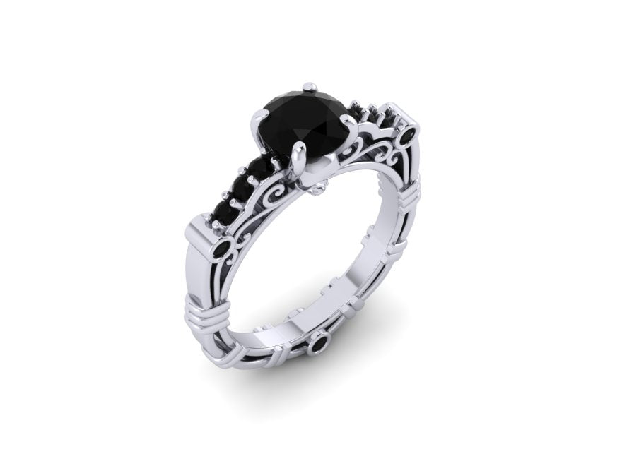 Secret Skull Engagement Ring-UDINC0623