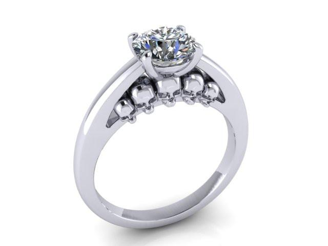Secret Skull Engagement Ring-UDINC0583