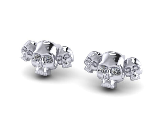 Until Death, Inc. Three Skull Stud Earring Pair- STERLING SILVER UDINC0325