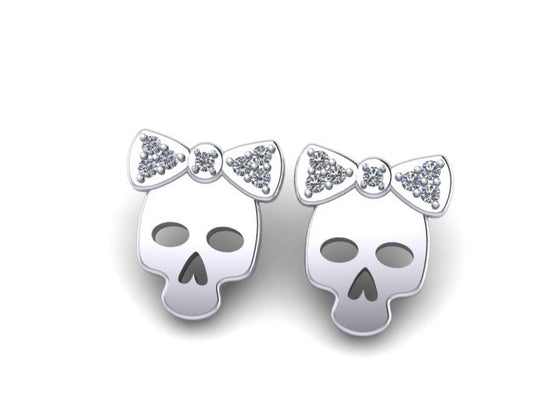 Skull &Bow Earrings STERLING SILVER- UDINC0543
