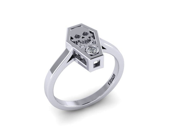 Bezel Set Coffin Ring-UDINC0522